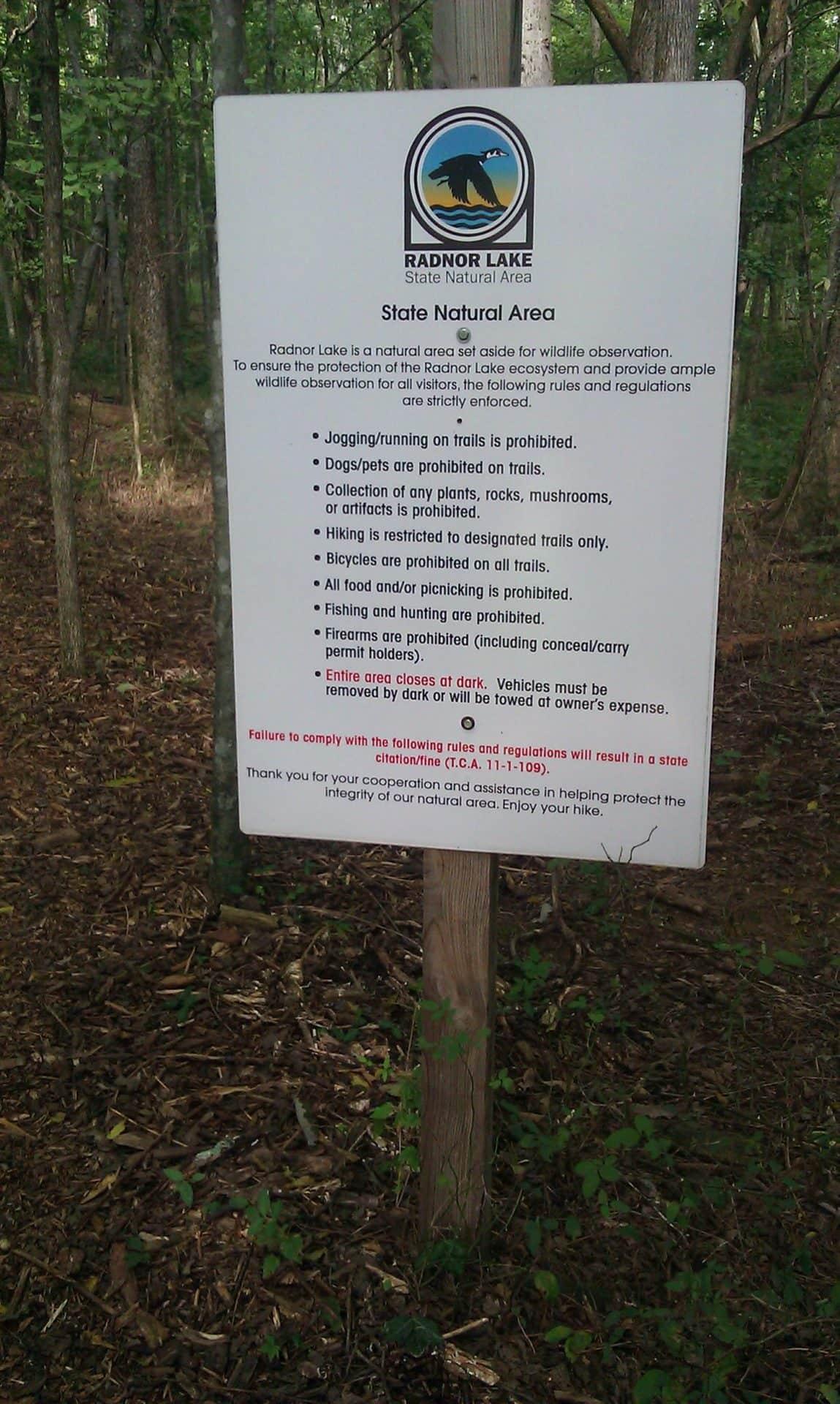 Radnor Lake - trail rules