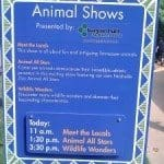 Animal Show times - these change seasonally