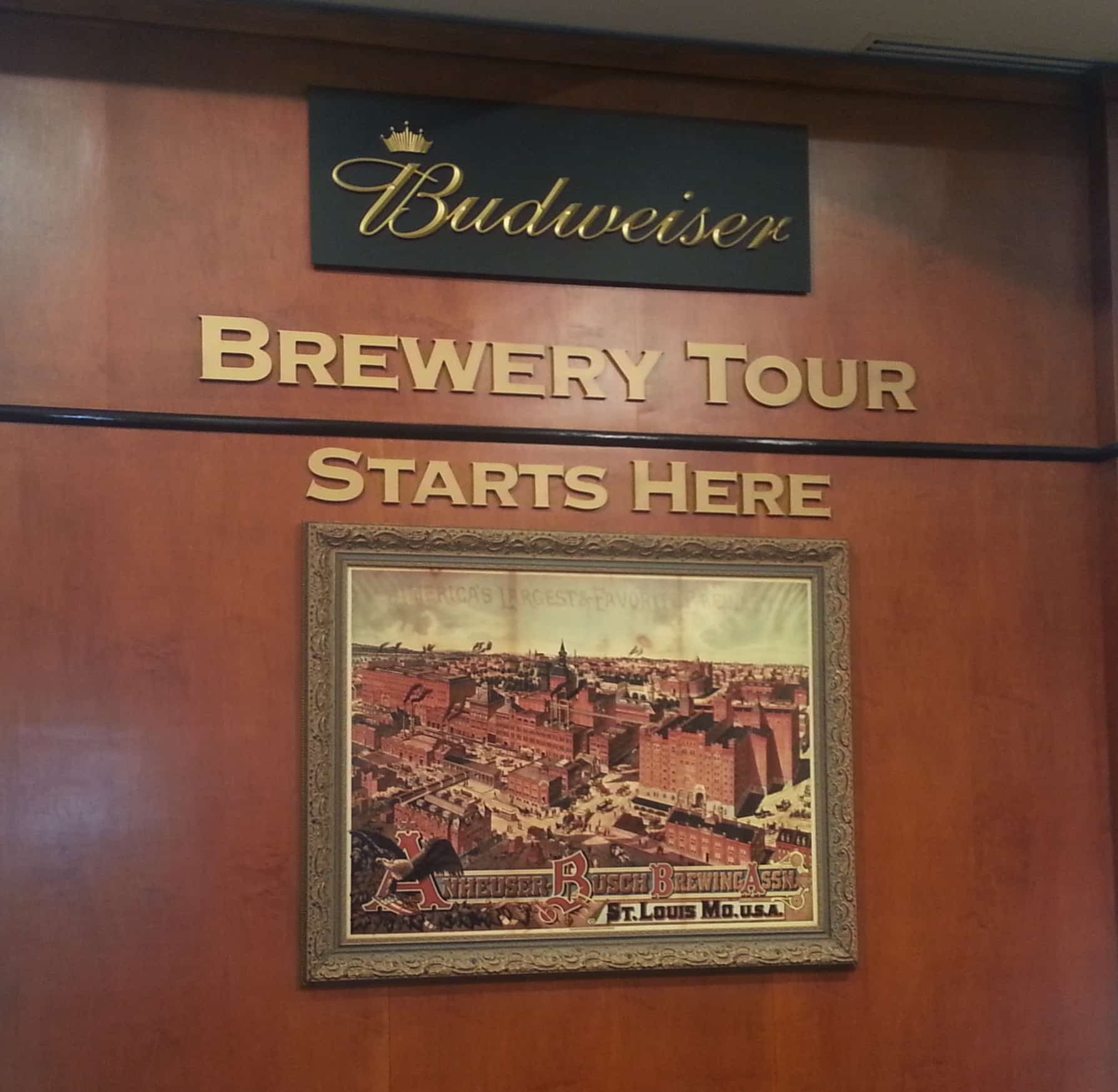 Budweiser Brewery Tour, St. Louis, MO - Tour starts here sign