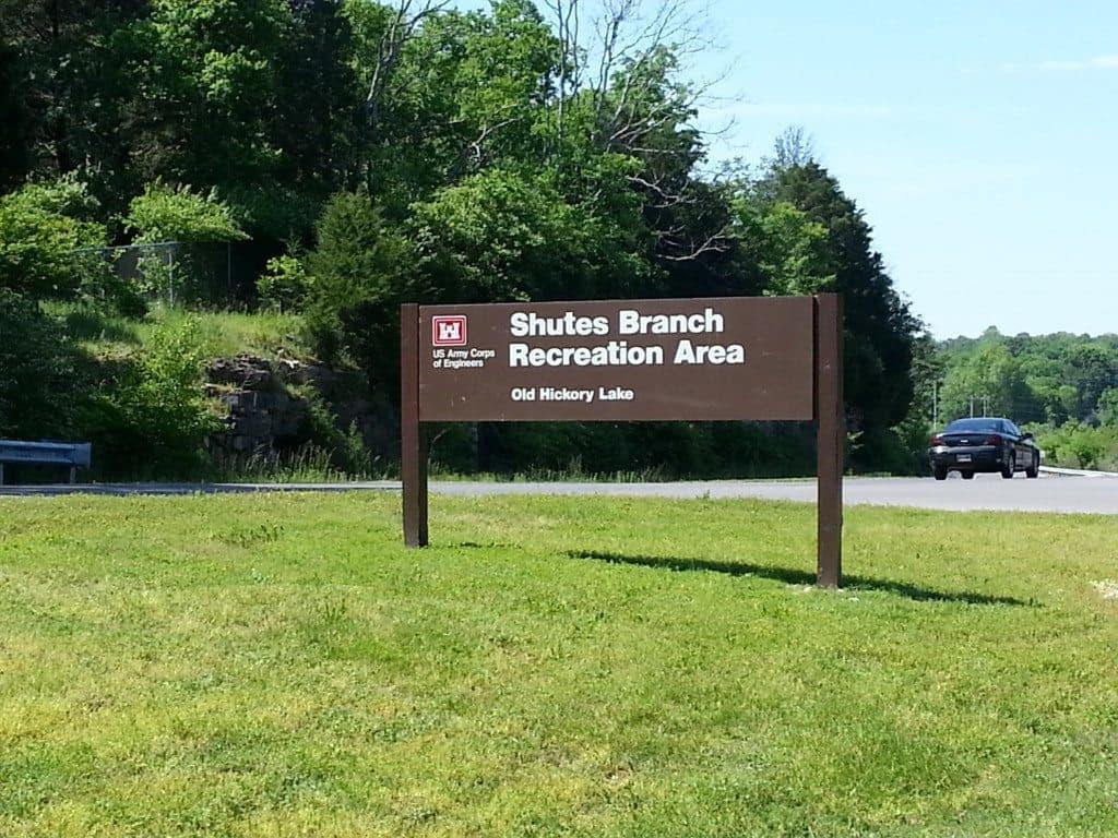 Shutes Branch Recreation Area entrance sign
