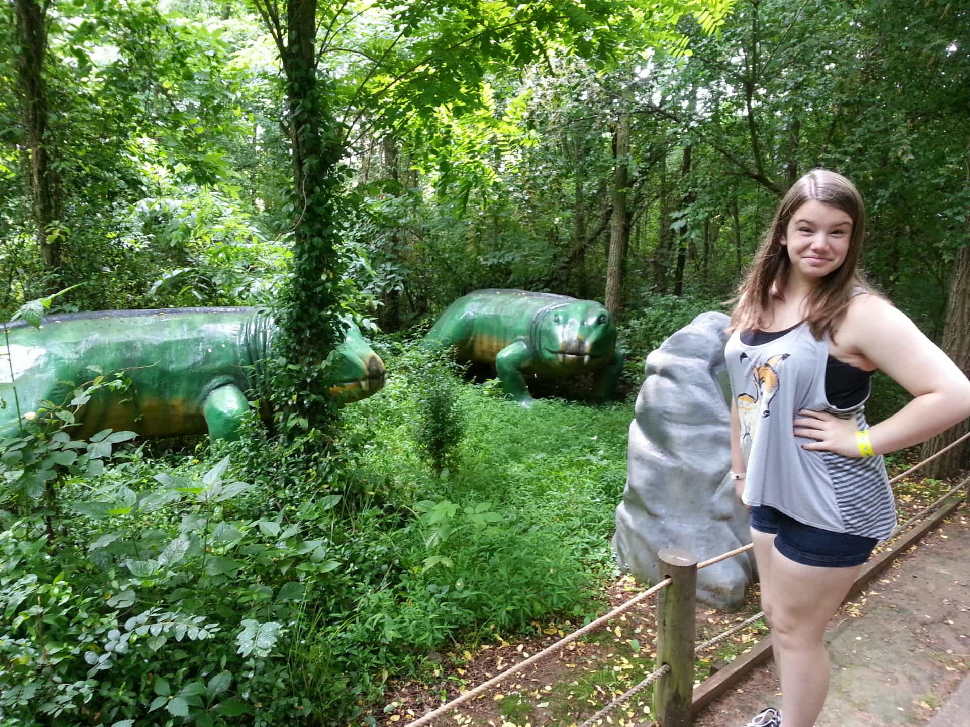 Dinosaur World posing with the Iguanodon