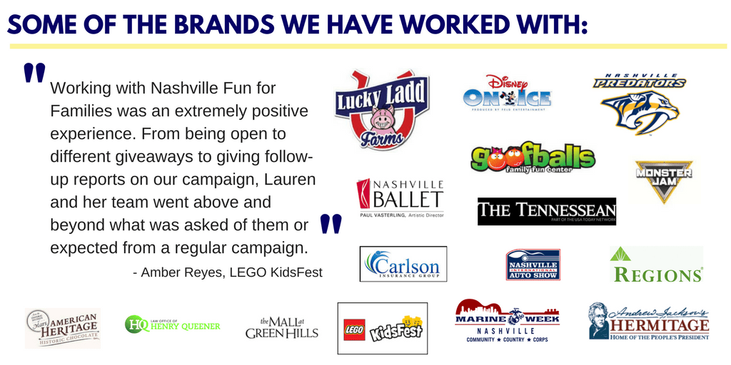 Some of the brands that have advertised with Nashville Fun for Families