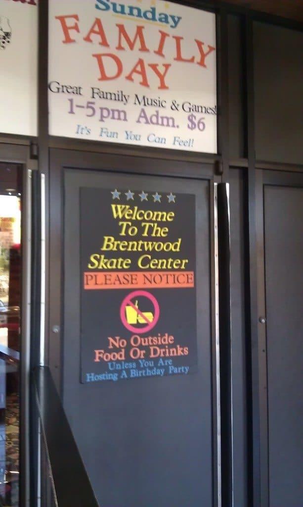 Brentwood Skate Center - Front door