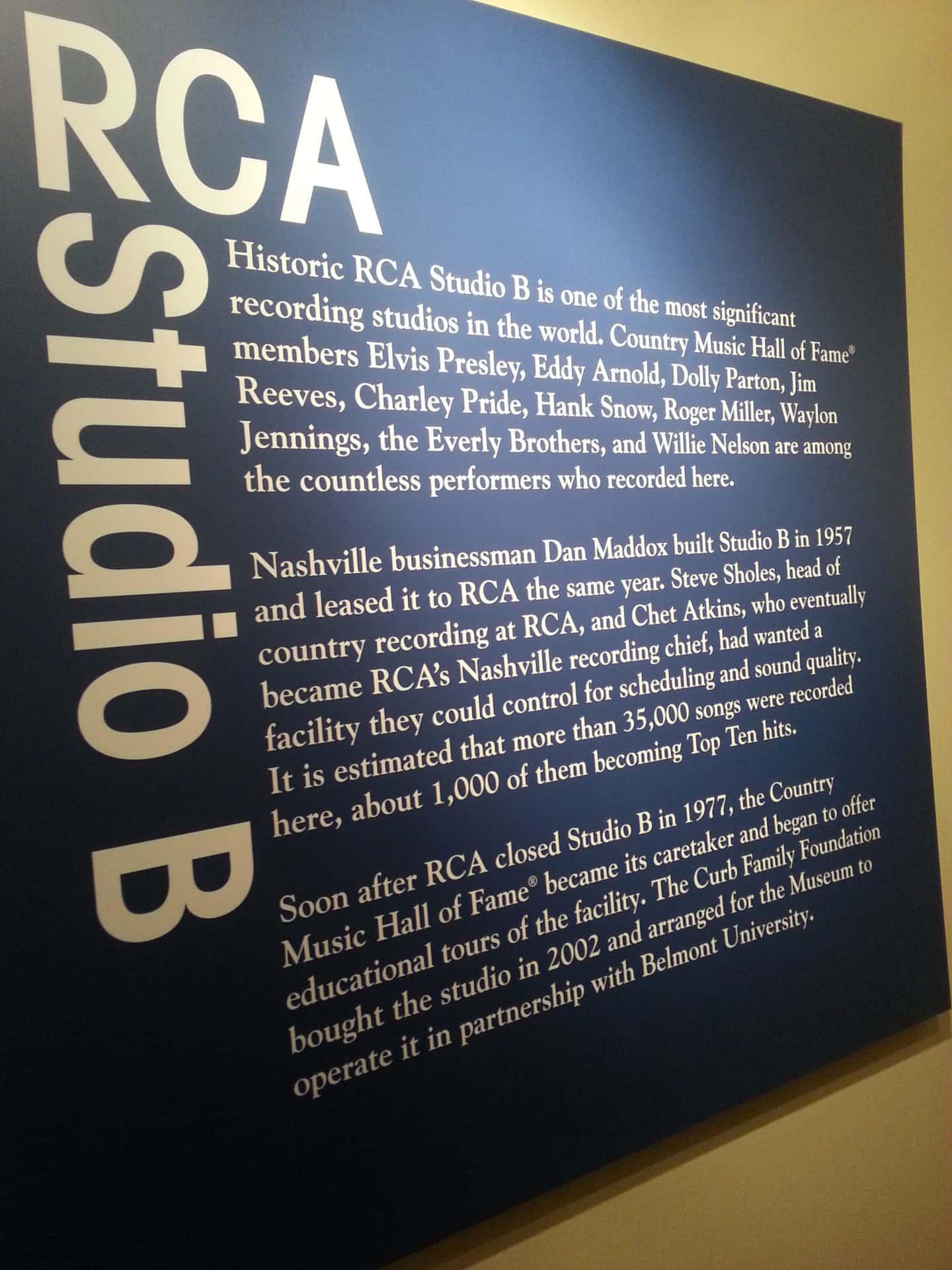 RCA Studio B Tour sign
