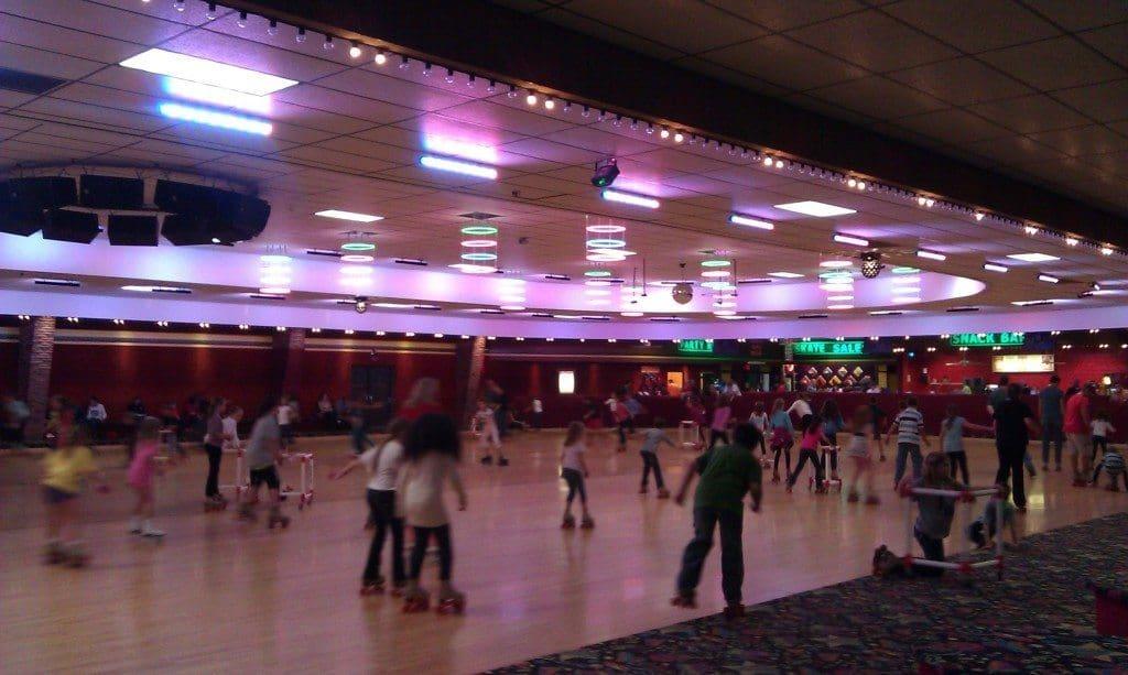 Brentwood Skate Center - skating on the big wooden floor