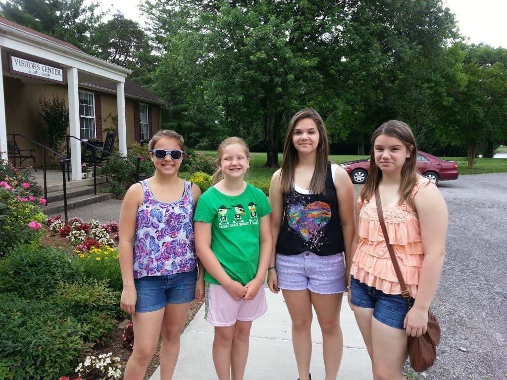 girls at Rock Castle visitor center
