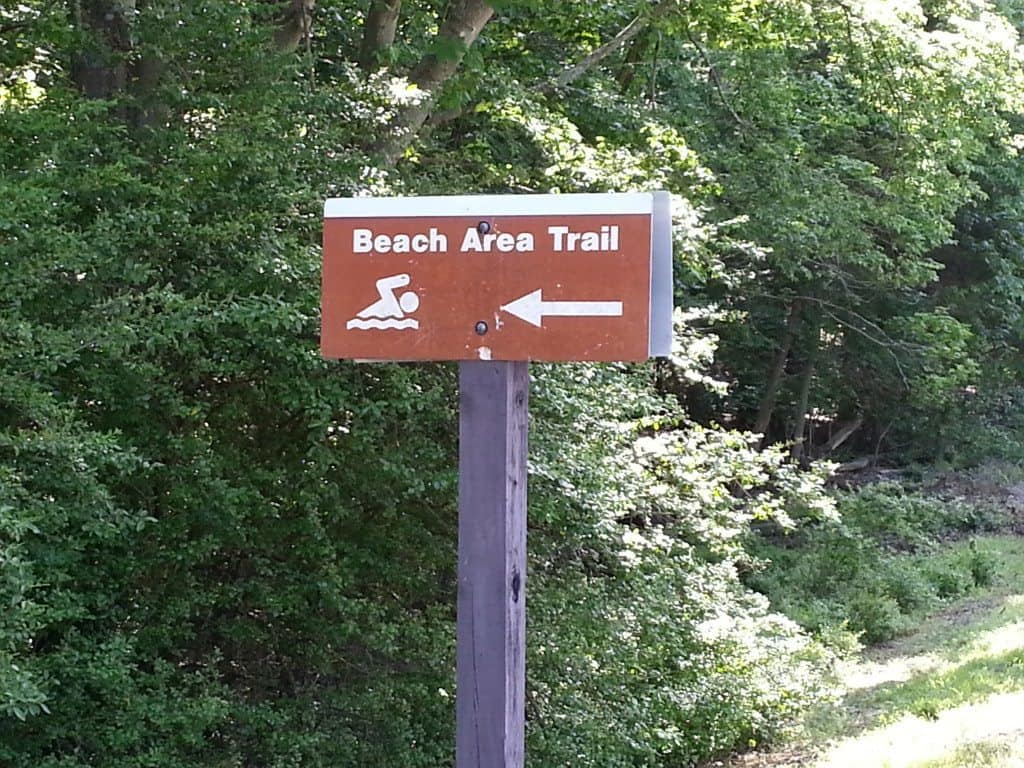 Cook Recreation Area beach trail entrance sign