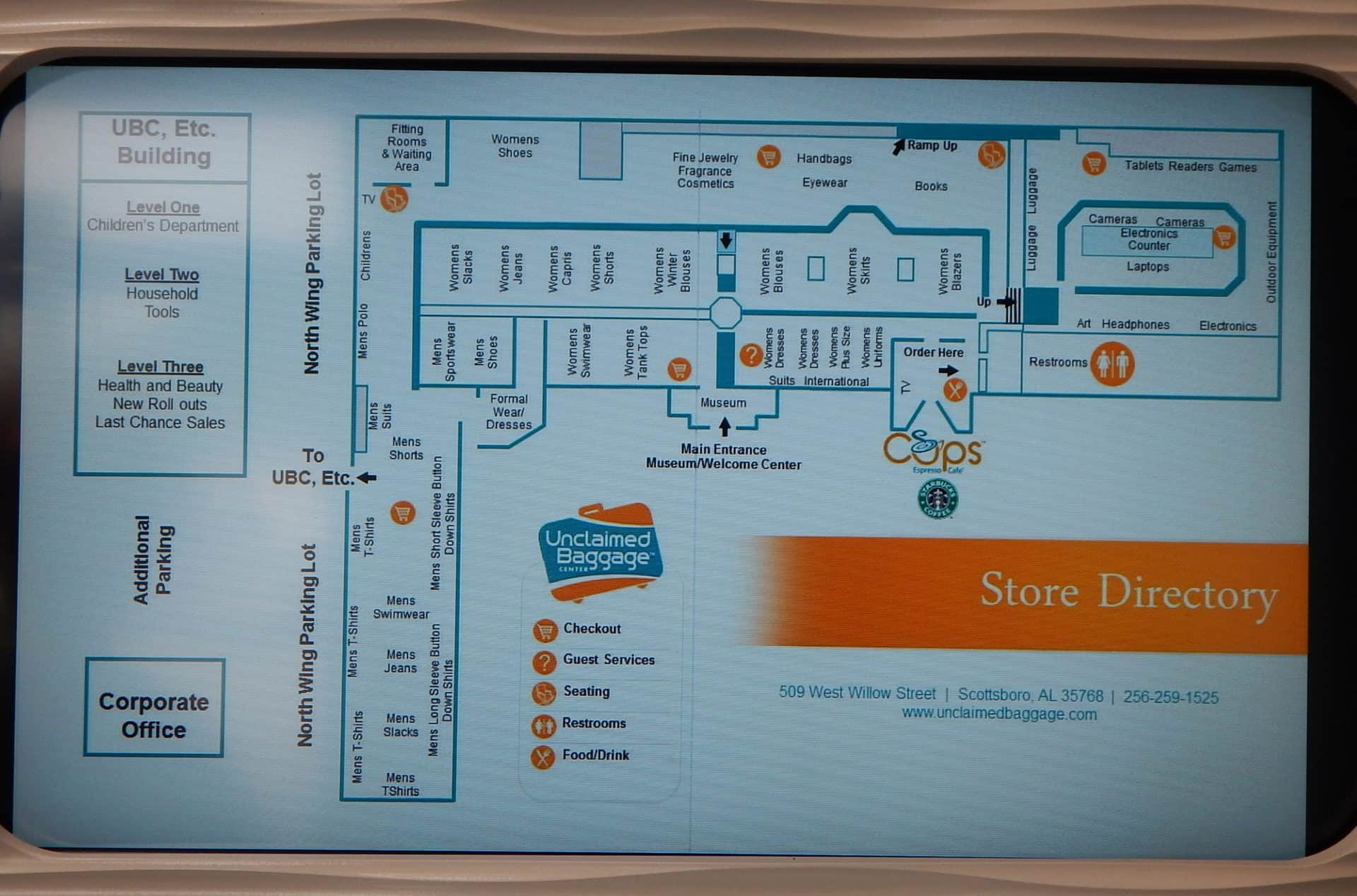 Unclaimed Baggage - store map
