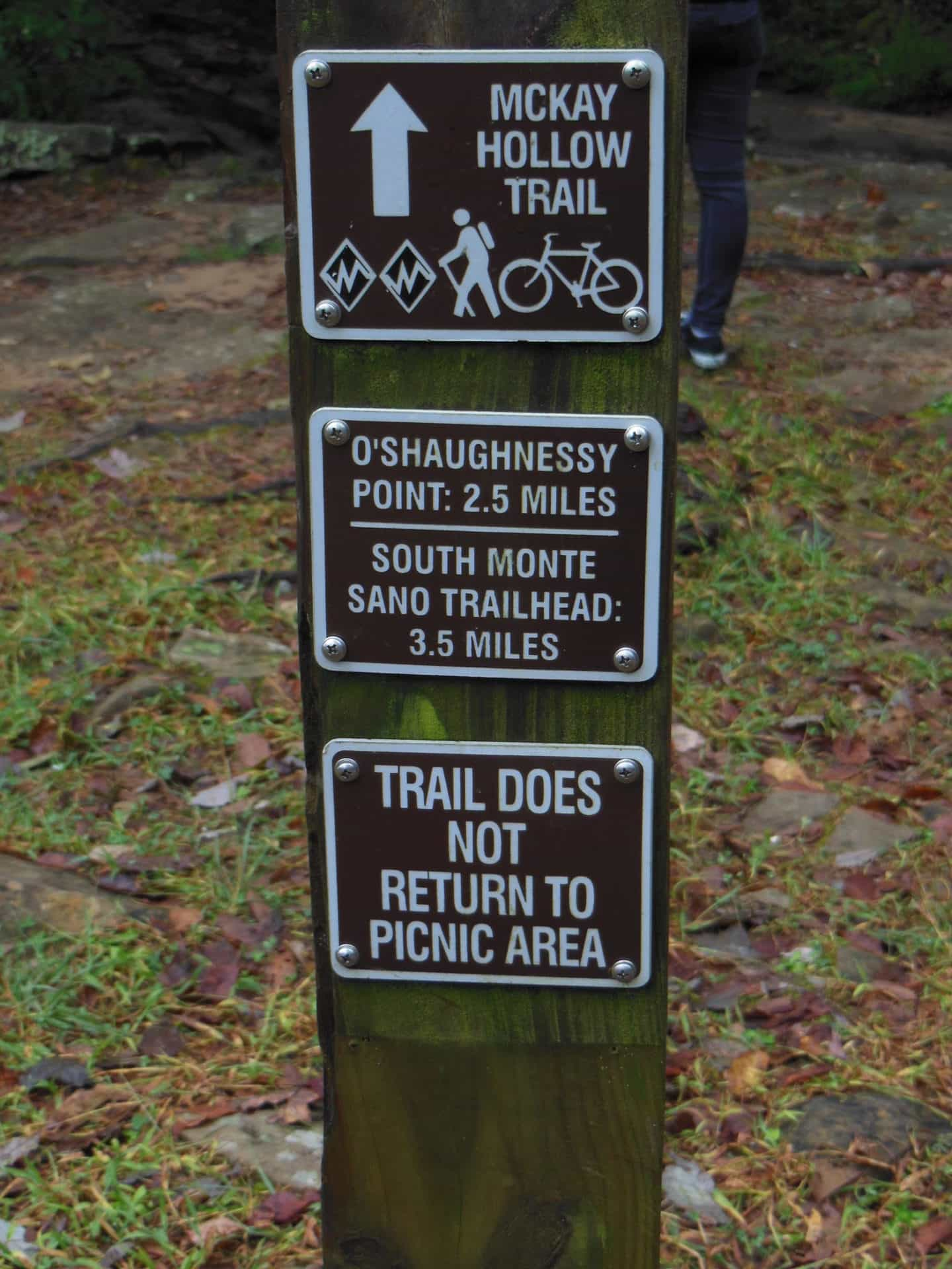 Monte Sano State Park - Trail Warnings