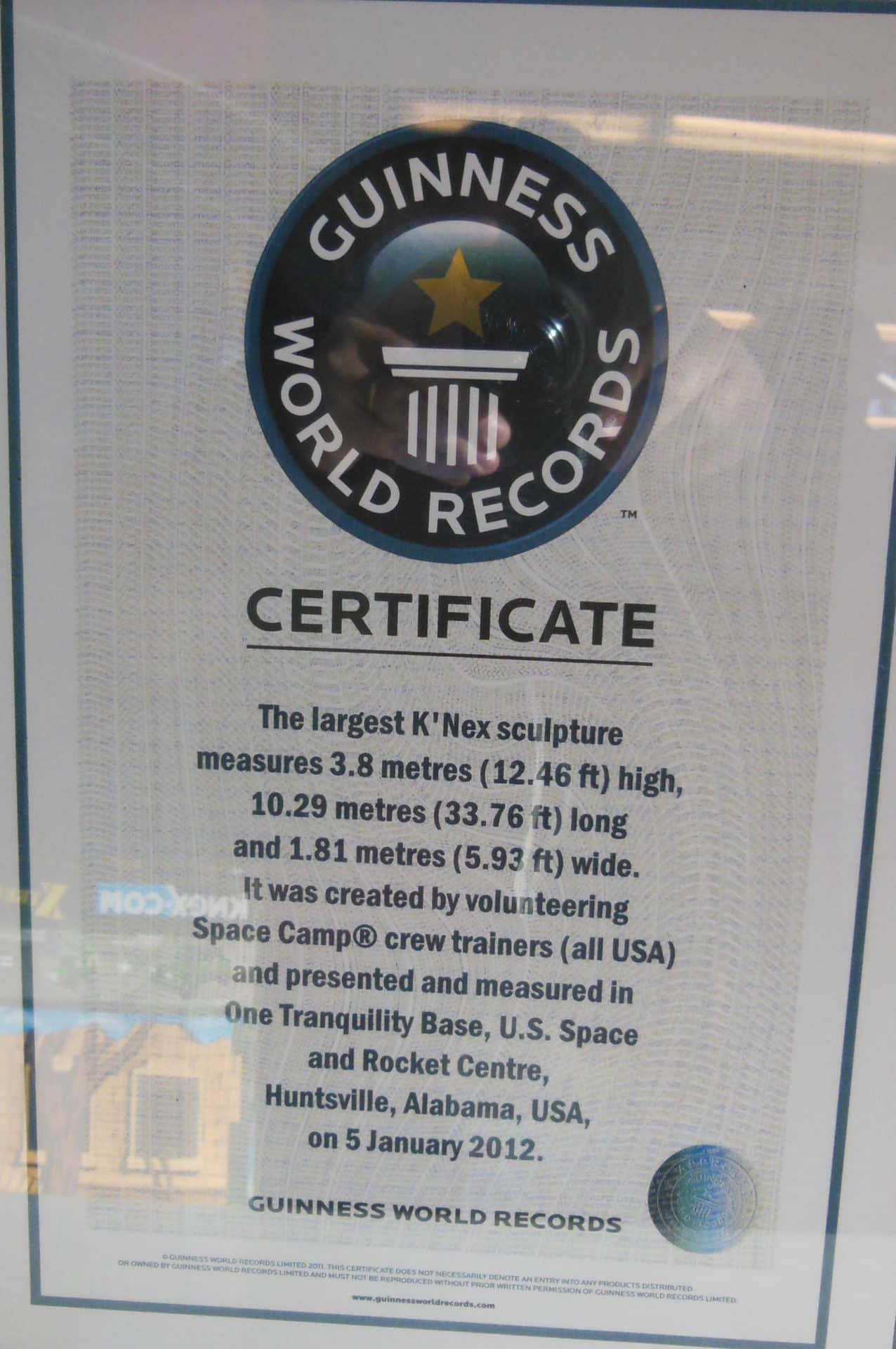 US Space and Rocket Center - K'nex Certificate
