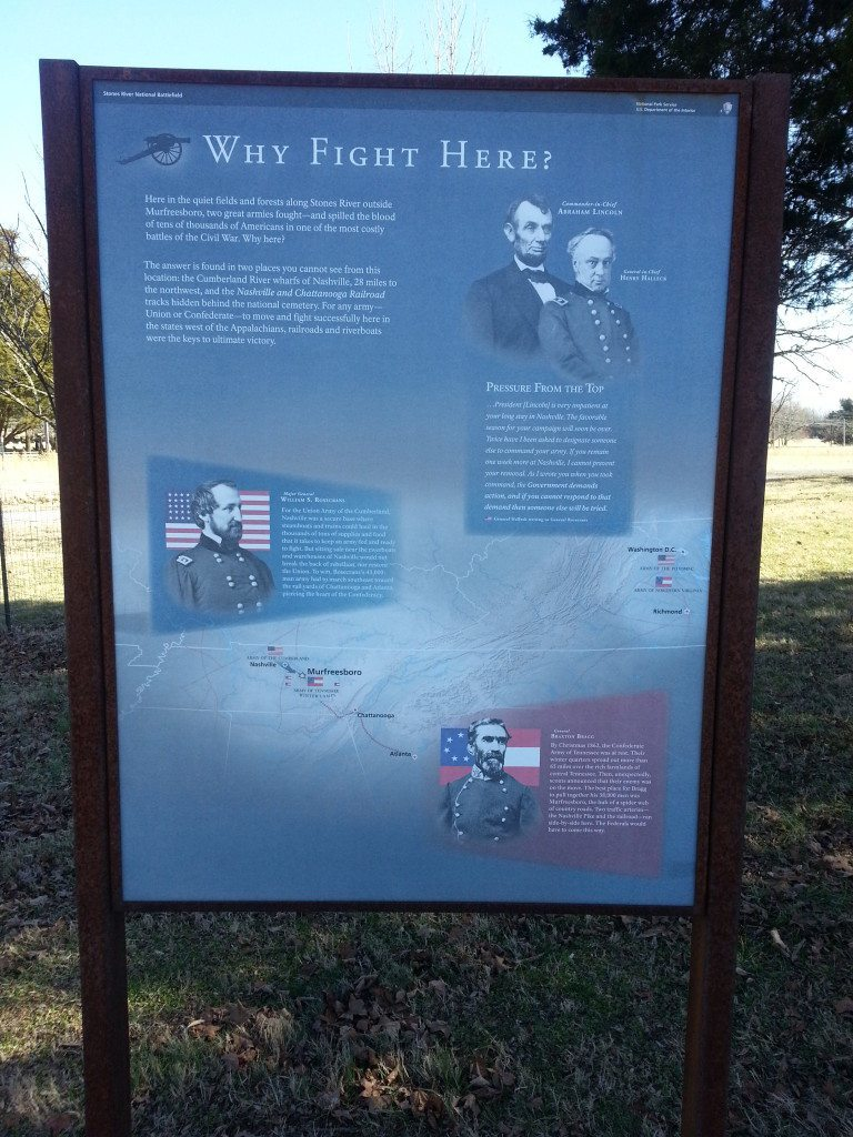 Stones River Battlefield educational sign