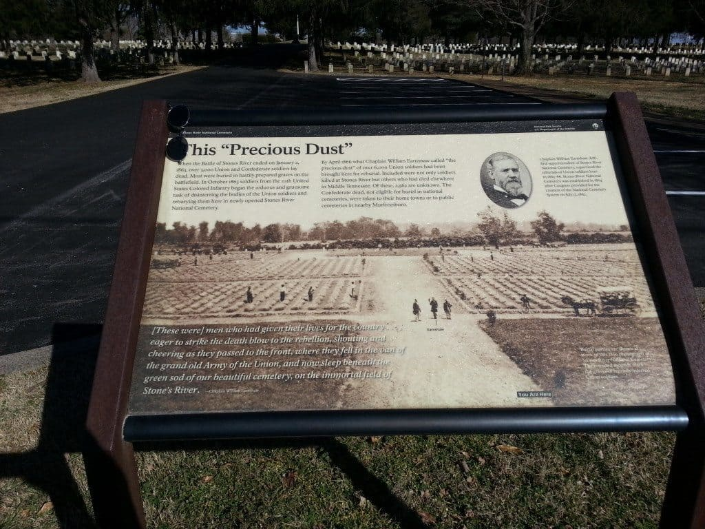 Stones River Battlefield grave sign
