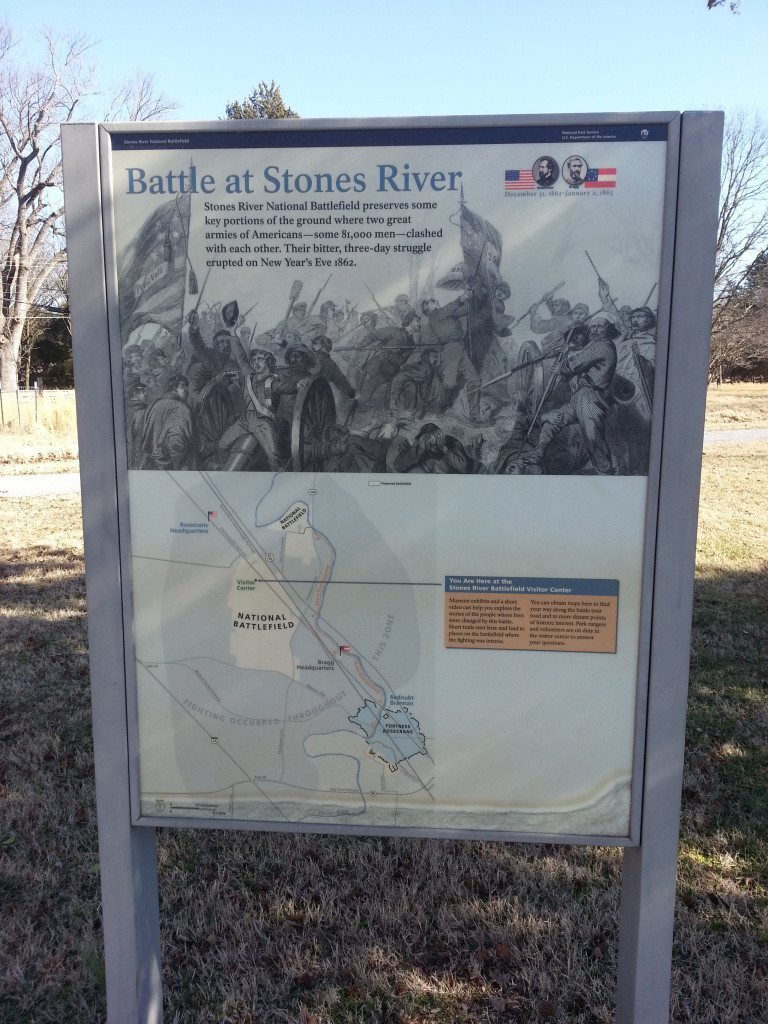Stones River Battlefield sign with map