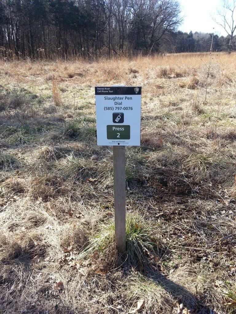 stones river battlefield slaughter pen sign