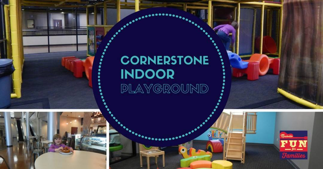 cornerstone indoor playground - blue circle with the title over images of the playground