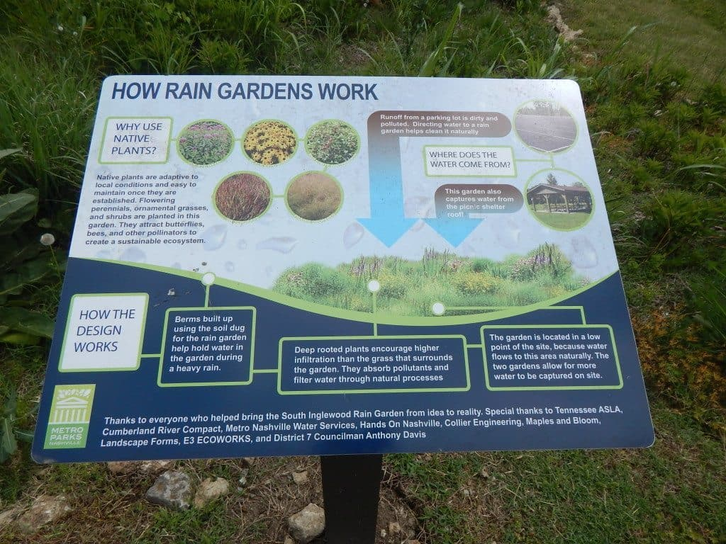 South Inglewood Park and Community Center - Sign about the Rain Garden