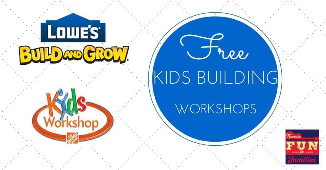 free kids building workshops