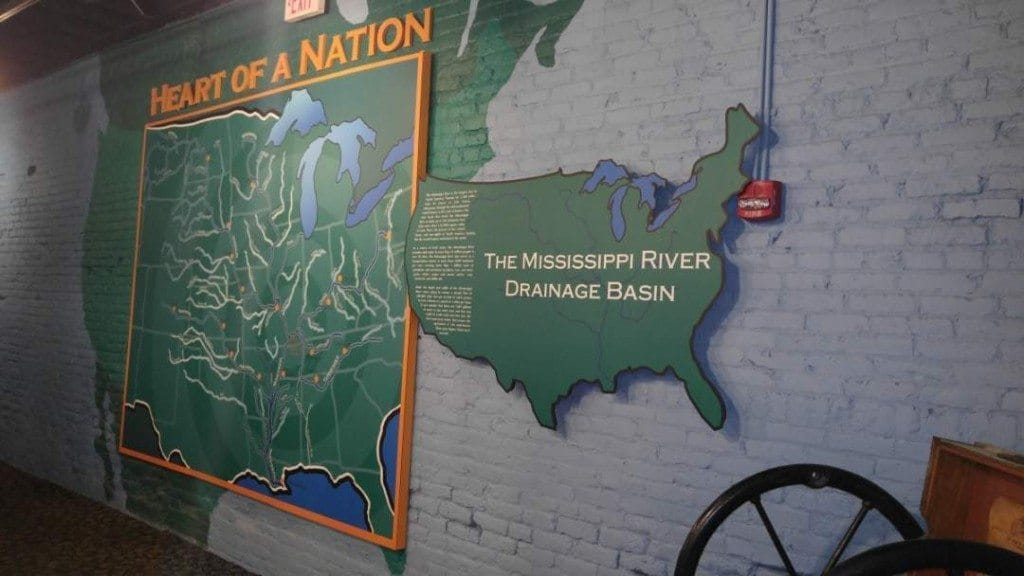 Map of the Mississippi River Drainage Basin in the River Discovery Center