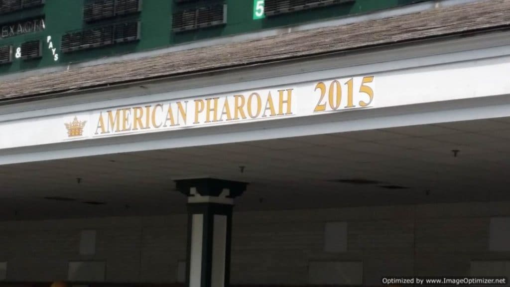 Churchill Downs & The Kentucky Derby American Pharoah winner sign