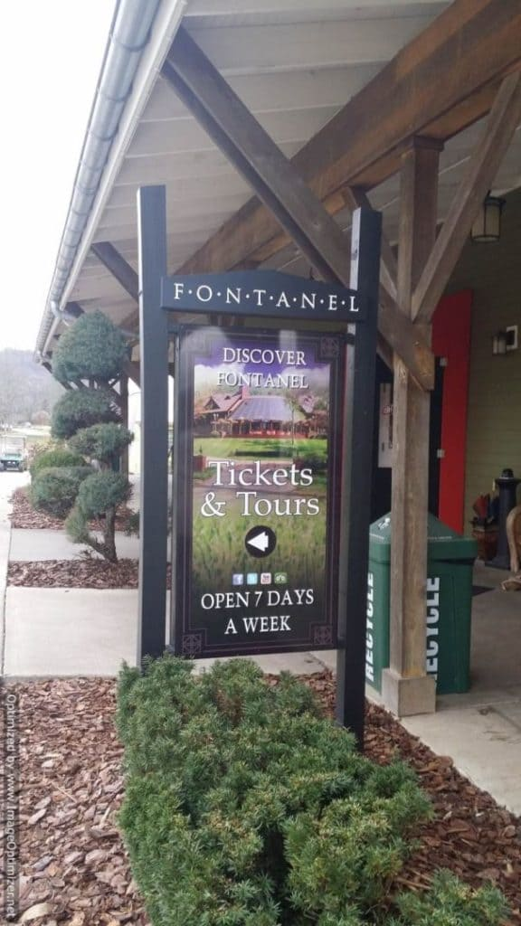 The Fontanel ticket booth sign