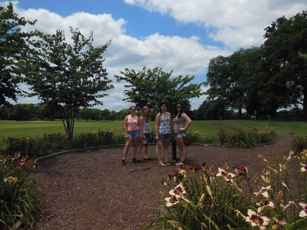 girls in the gardens at Carnton Plantation