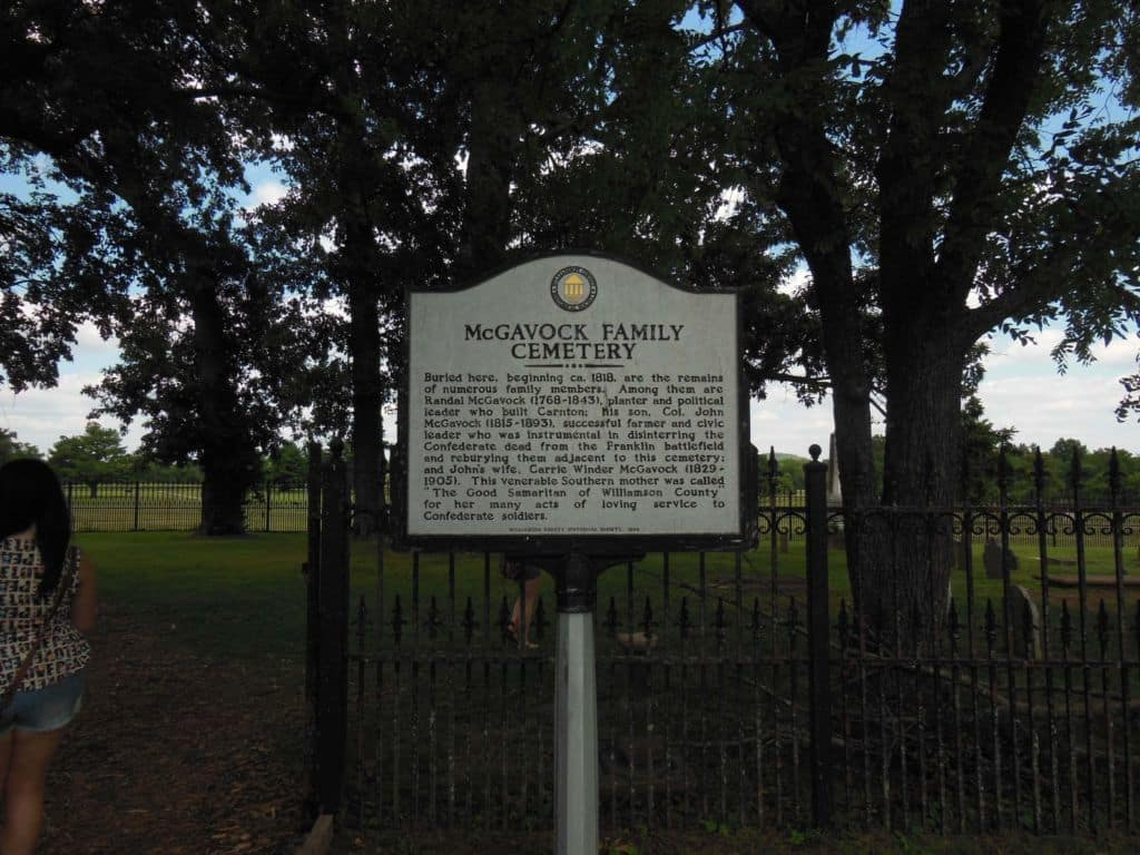 Carnton Plantation historical sign