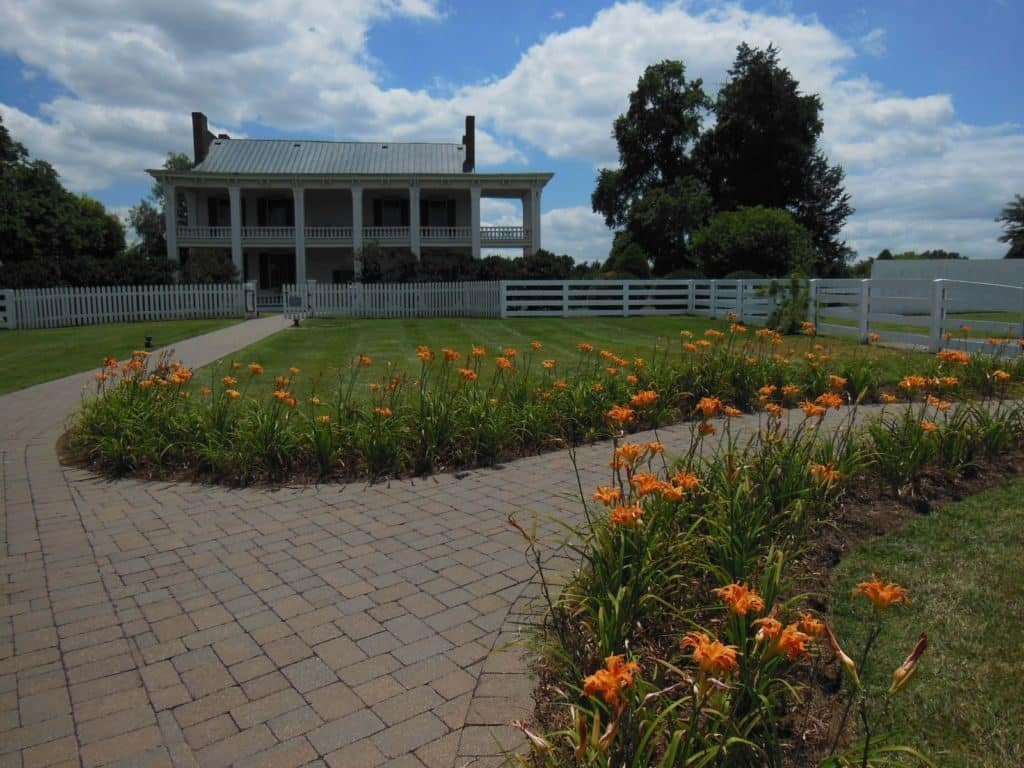 Carnton Plantation front lawn and garden of the home