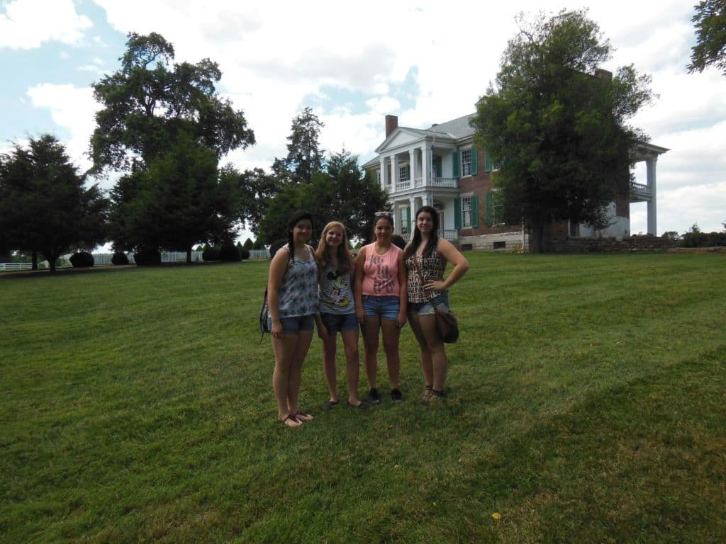 girls outside of the Carnton Plantation home