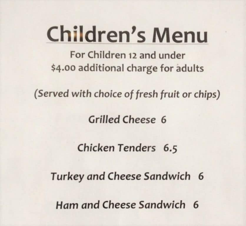 Belle Meade Plantation Children's Menu - 2016