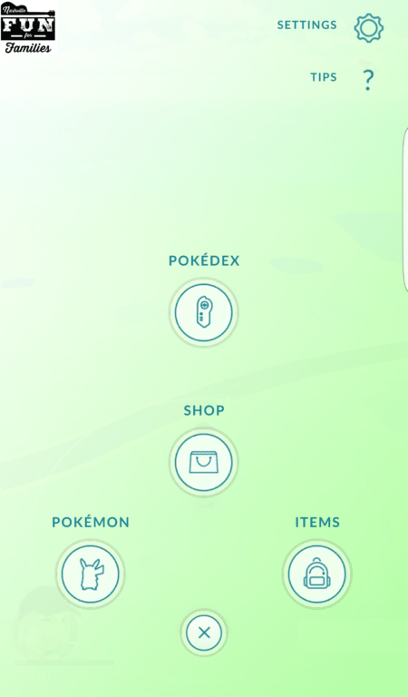 Pokemon Go Menu