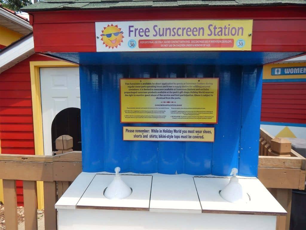 Holiday World free sunscreen