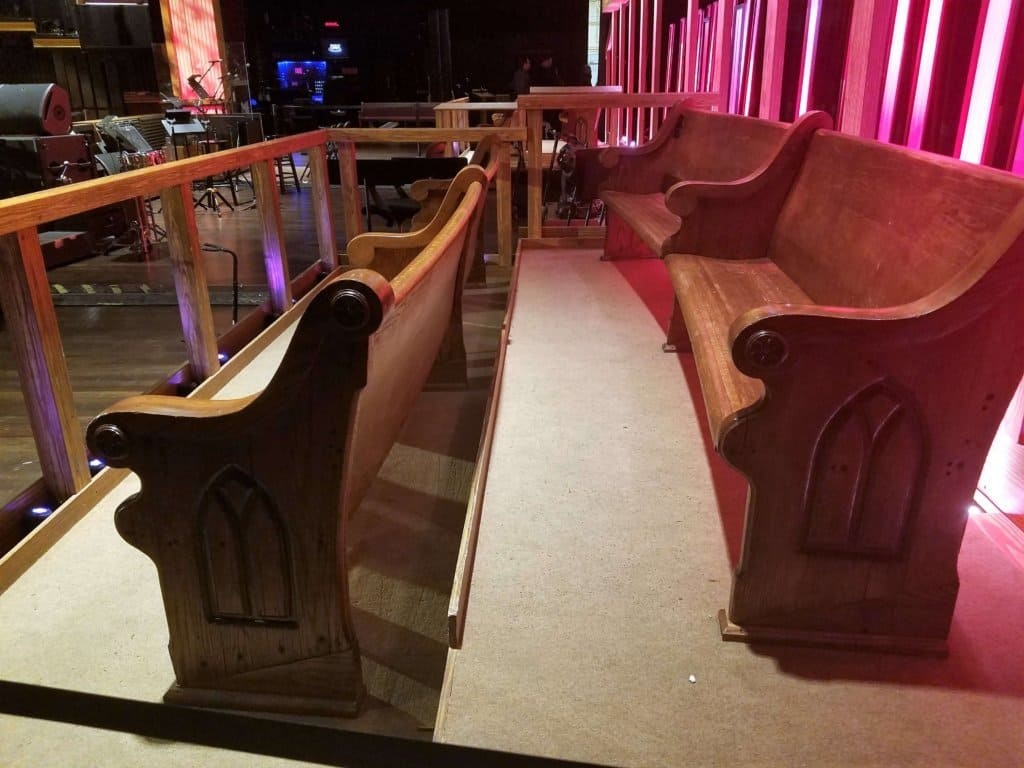 Grand Ole Opry - benches on stage for artist's guests
