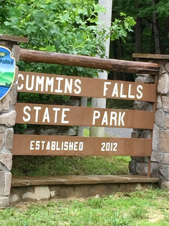 Front gate sign at Cummins Falls State Park