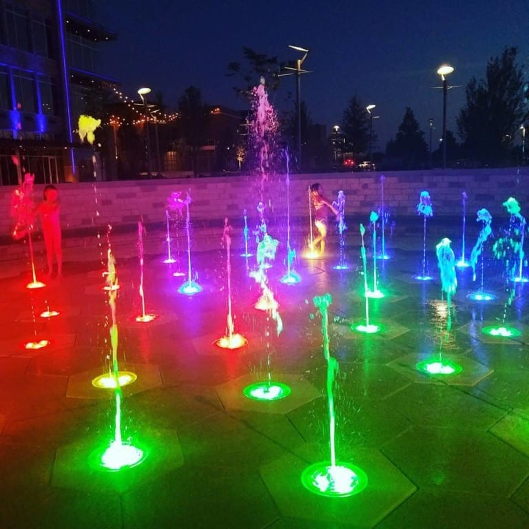 The fountains with multi-colored lights