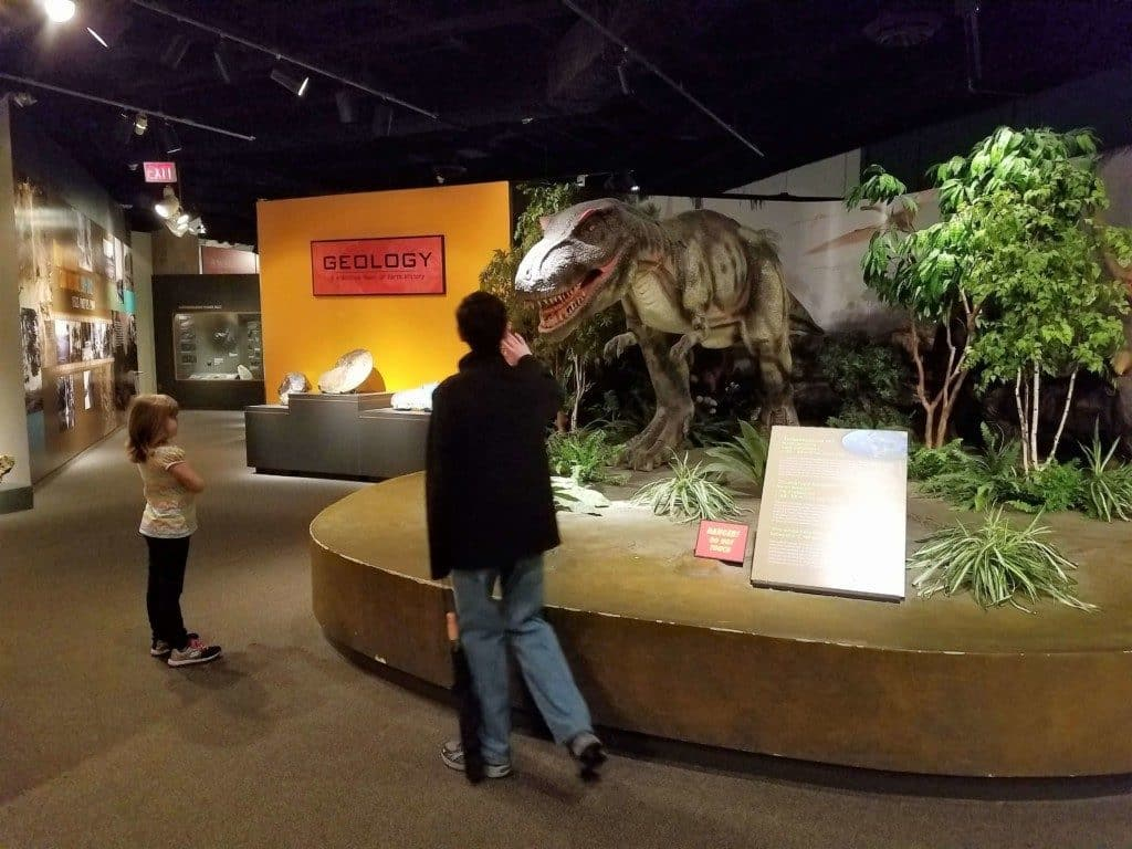 Pink Palace in Memphis, TN - interacting with the animatronic T-rex