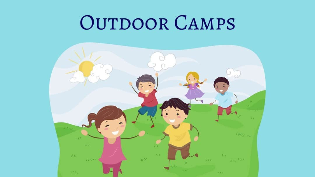 Outdoor Summer Camps in Nashville - illustration of kids running in a grass field