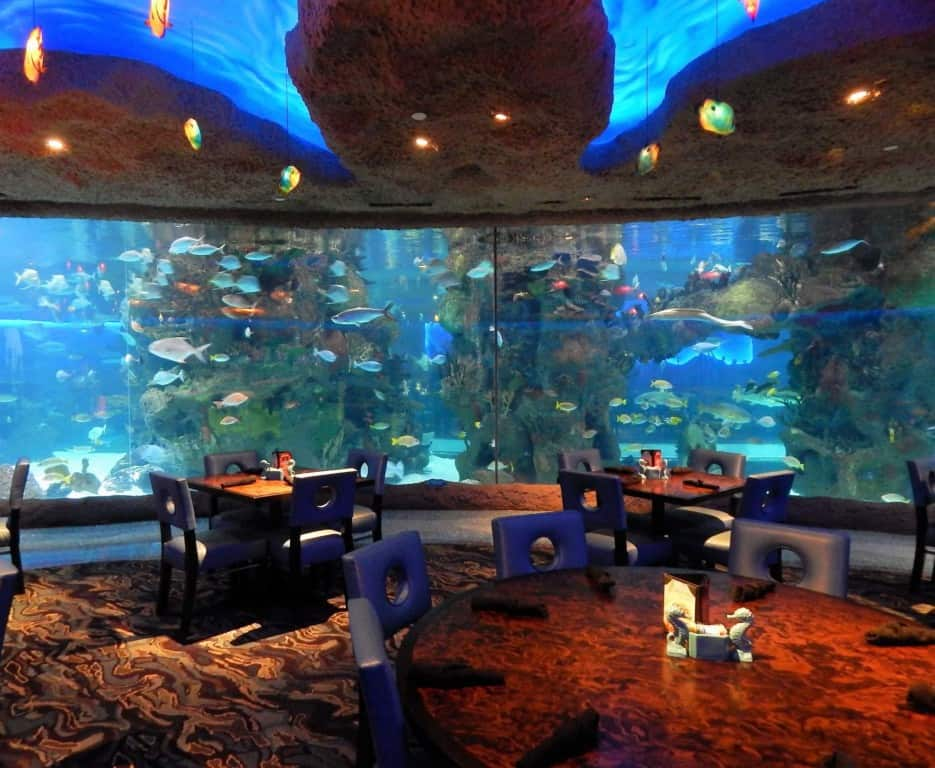 Restaurants in Opry Mills Mall - Aquarium restaurant view from a table