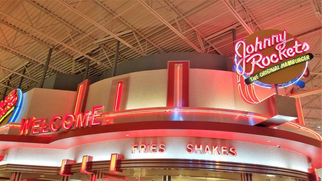 Restaurants in Opry Mills Mall - Johnny Rockets sign