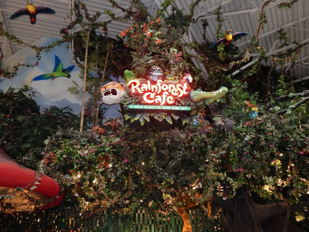 Restaurants in Opry Mills Mall - Rainforest Cafe sign