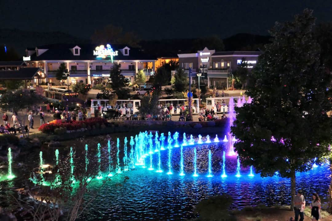 Margaritaville Island Hotel Pigeon Forge - dancing fountains at night - The Island in Pigeon Forge
