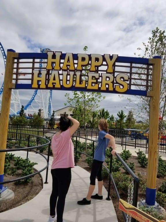 The Park at OWA Happy Haulers ride entrance