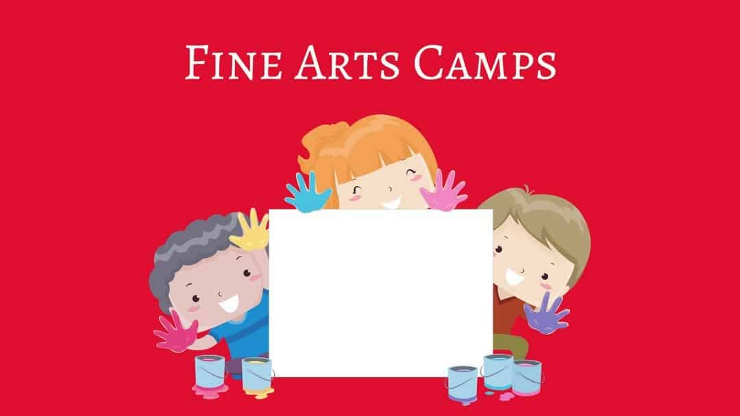 Fine Arts Camps in Nashville - an illustration of three children holding an artist's canvas