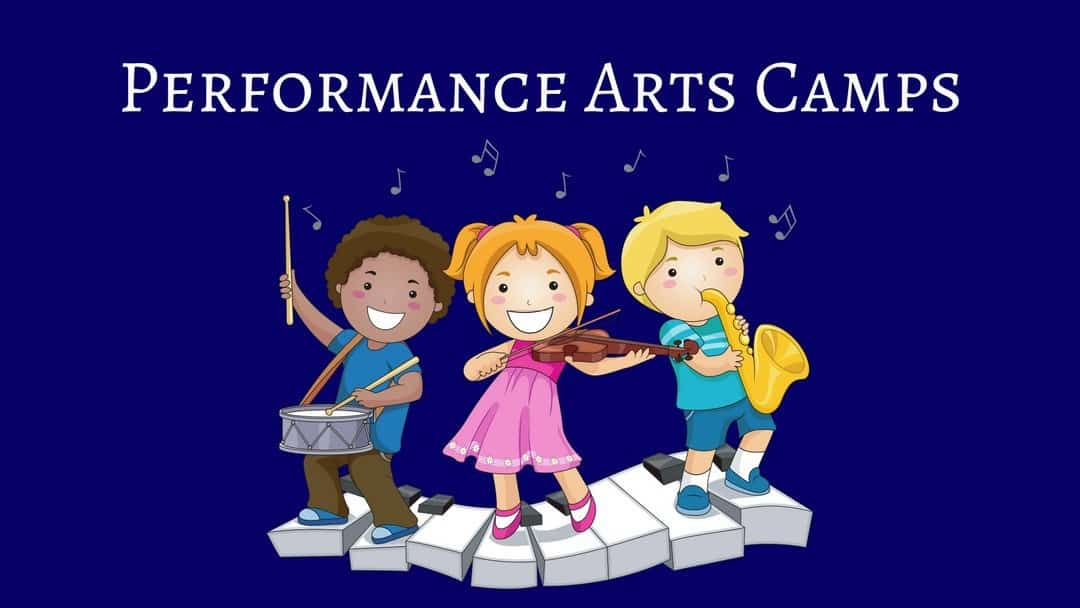 Performance Arts Camps - an illustration of three kids playing the drums, violin and saxophone