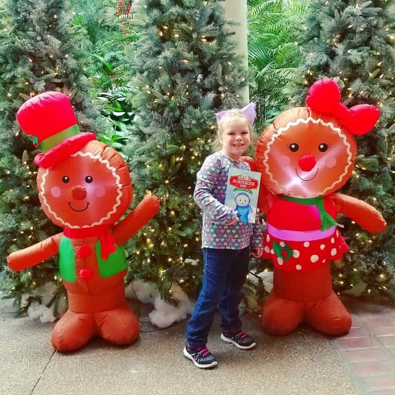 Gaylord Opryland's Build-a-bear workshop scavenger hunt - blowup gingerbread man decorations