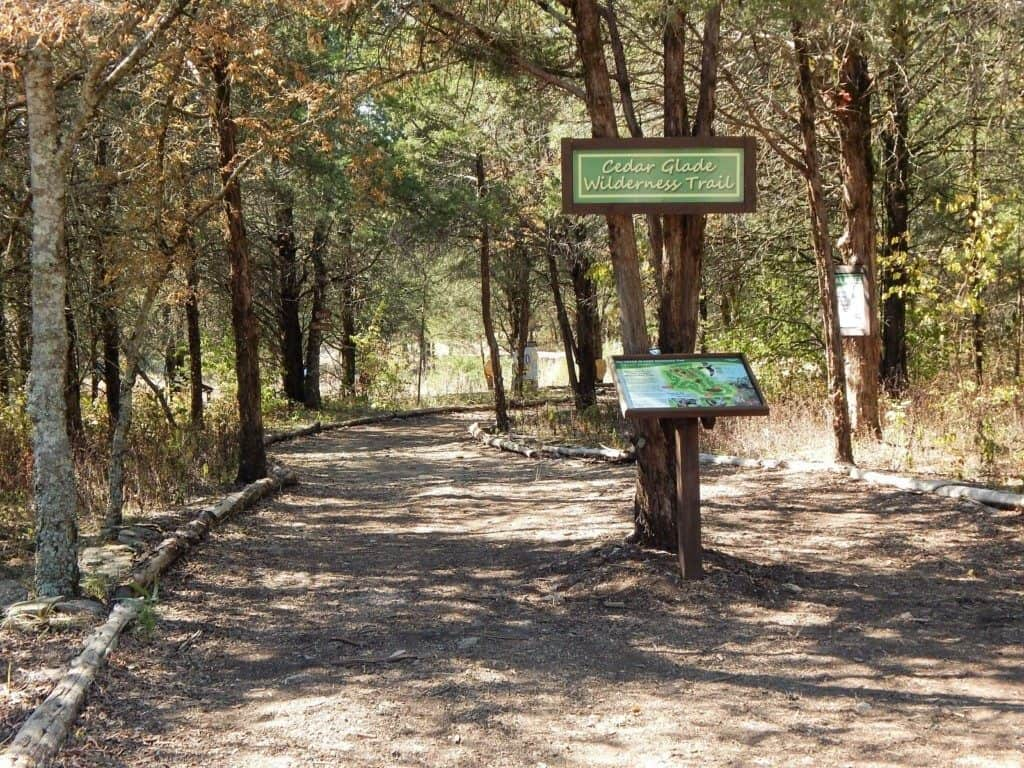 The entrance of the Cedar Glade Wilderness trail at Lucky Ladd Farms