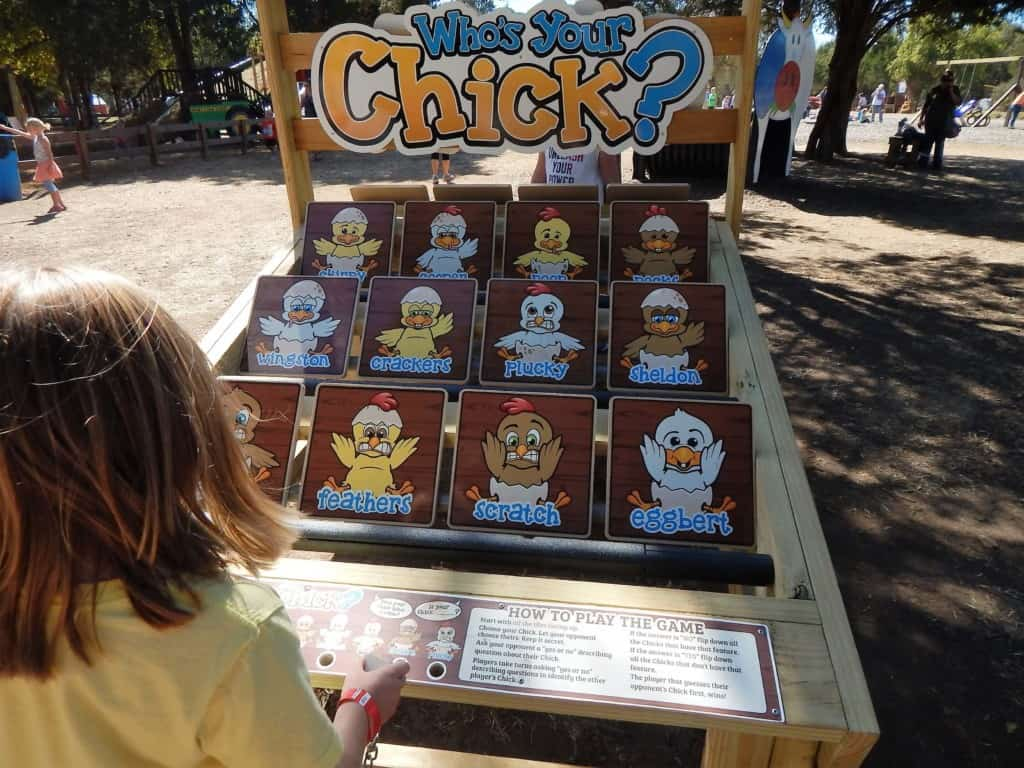 A girl playing Who's your chick? a matching game at Lucky Ladd Farms