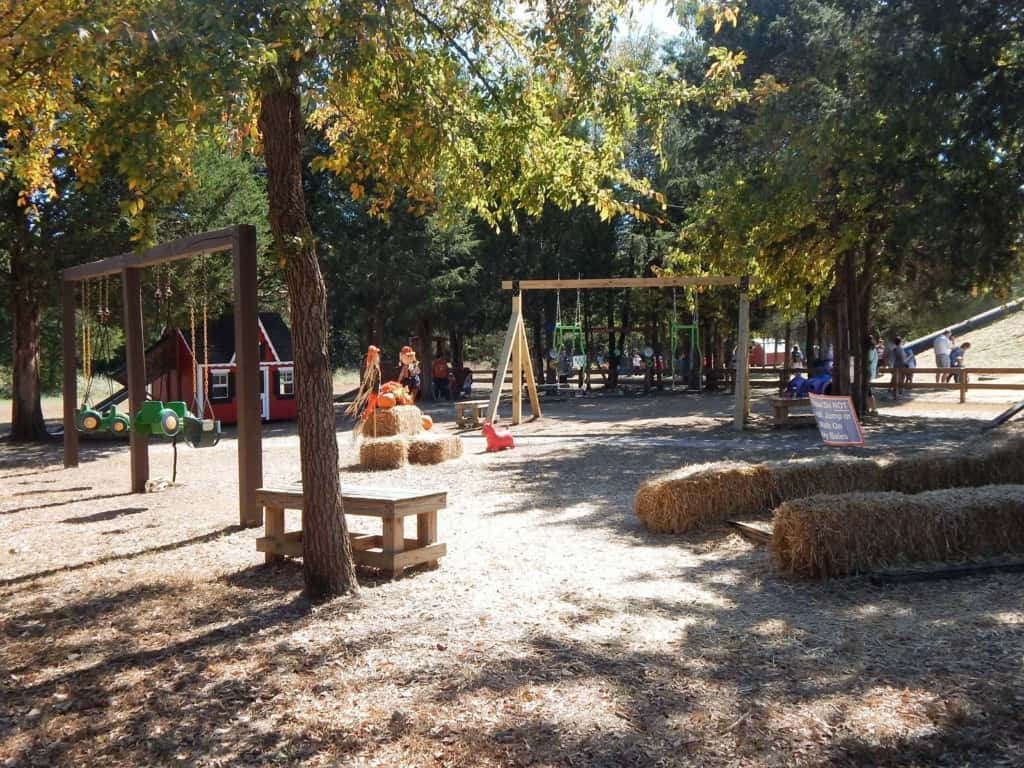 The shaded playground including swings at Lucky Ladd Farms