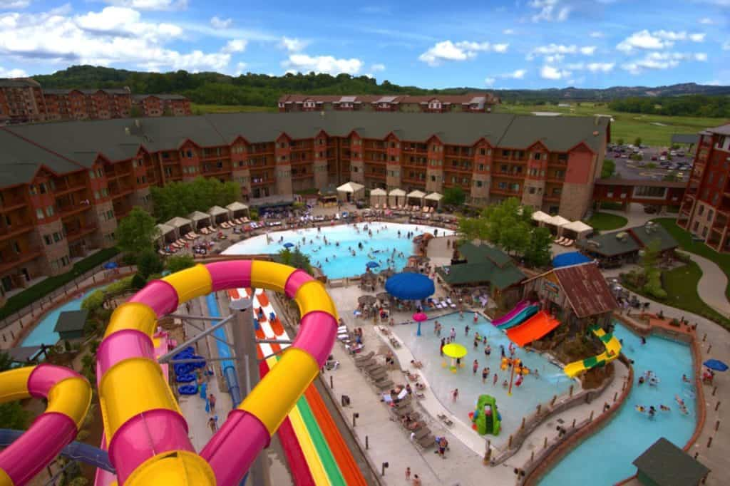 Lake Winderness outdoor waterpark tower view
