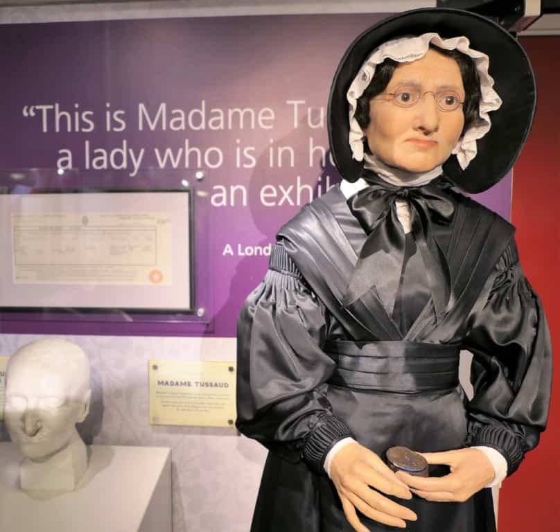 A wax figure of Madame Tussaud displayed in Madame Tussauds in London