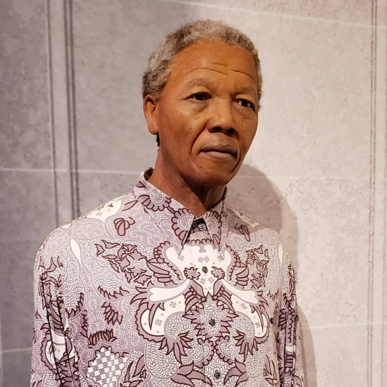 A wax figure of Nelson Mandela displayed in Madame Tussauds in London